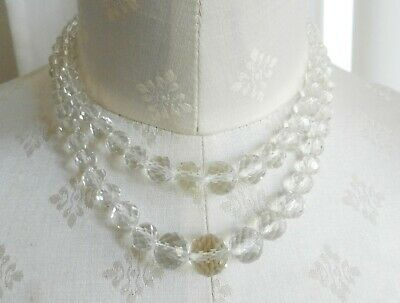 Vintage Art Deco Double Strand Clear Faceted Crystal Glass Necklace