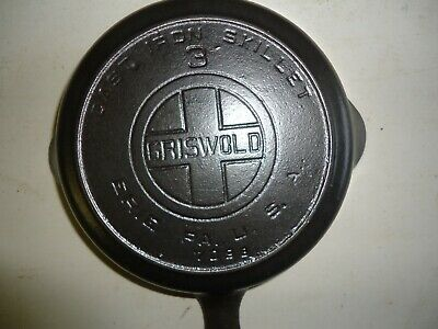 """Vintage Griswold # 3 cast iron skillet large block with """"  HEAT RING """""""
