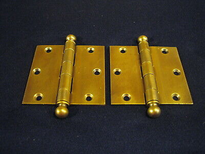 "Pair Antique Victorian 3-1/2"" Brass Plate Ball Finial Tip Door Hinges STANLEY"