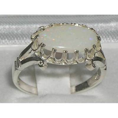 Quality Solid Sterling Silver Natural Opal Victorian Inspired Ring