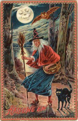 Halloween Postcard. Raphael Tuck & Sons, Series 160. Witch Holding Broom