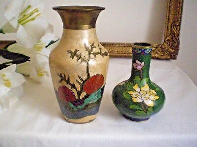2 X CHINESE CLOISONNE VASES ENAMEL ON BRASS VINTAGE C.1930-1940's