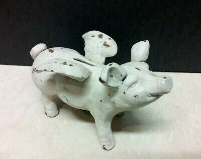 """Cast Iron """"When Pigs Fly"""" Piggy Bank - Measures 7"""" Long, 4 1/2"""" T and 3 3/4"""" W -"""