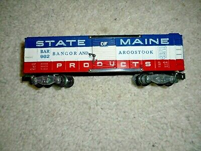 S Scale American Flyer 982 State Of Maine Bar Boxcar