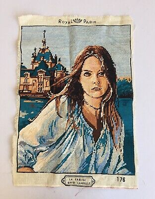 Vintage 70s Hippie Boho Mod  Needlepoint Art woman Paris Mystery Nancy Drew
