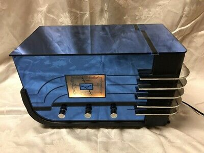 Vintage Old Crosley Collectors Series Walter Teague Blue Mirror Art Deco Radio