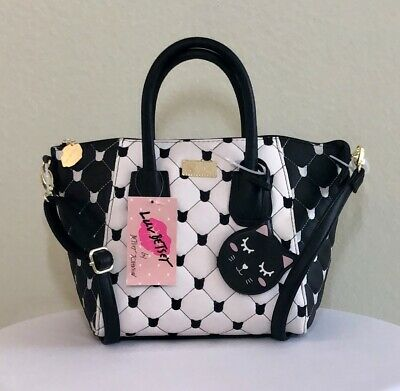 6eee0717786e NWT BETSEY JOHNSON Dome Satchel Crossbody Quilted Black White Kitty Cat  Purse
