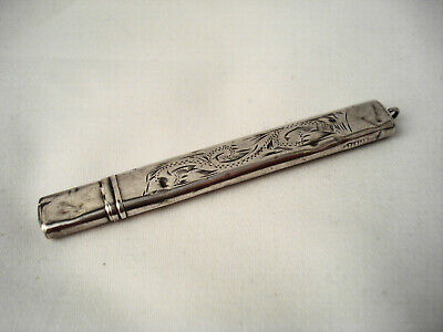 Antique Sterling Silver Needle Case Holder Pendant 3 1/4""