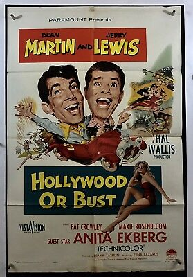 HOLLYWOOD OR BUST Movie Poster (VeryGood) One Sheet 1956 Dean Martin 1845