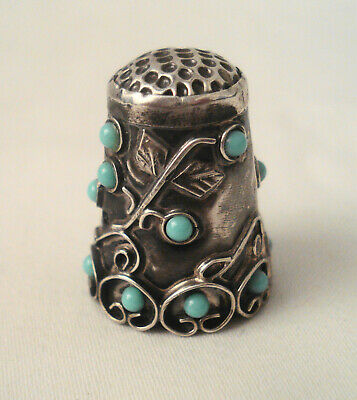 """Antique Vintage Sterling Silver & Turquoise .925 Mexico Thimble 1 1/8"""""""