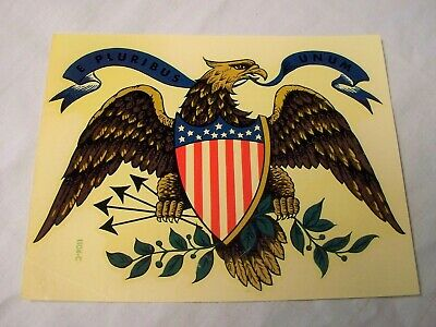 Vintage Meyercord Patriotic Eagle & Flag Decal Transfer #1104-C