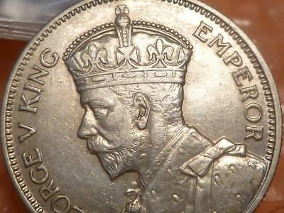 1934 Fiji Shilling Silver George V Coin Almost Uncirculated #1