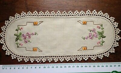 Vintage - Long Oblong Shaped Embroidered Doily Sandwich plate cover