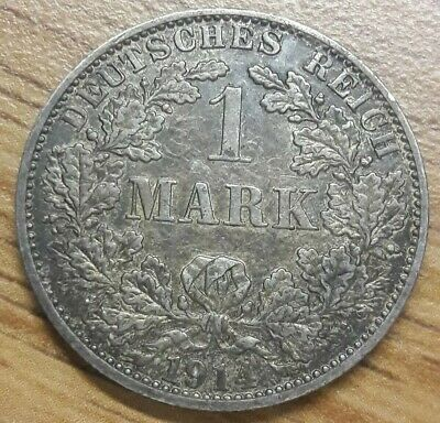 1914 A GERMAN EMPIRE MARK - EXCELLENT Toned Silver Coin XF-AU
