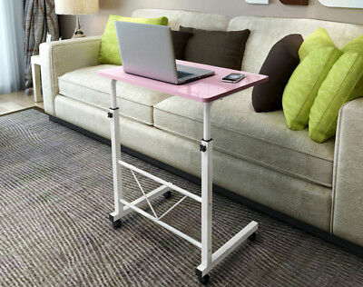 Adjustable Portable Lounge or  Bed Side Table Laptop Desk with Wheels (Pink)