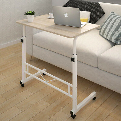 Adjustable Portable Lounge or  Bed Side Table Laptop Desk with Wheels (Wooden)