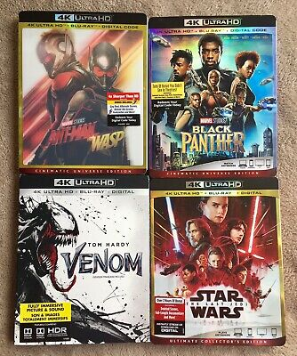 New Release 4K Bluray Movies,Venom, Black Panther, Ant-Man & The Wasp,Star Wars