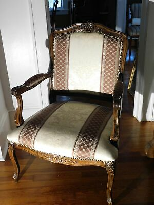 Antique Floral Carved Walnut Arm Chair Made in Italy
