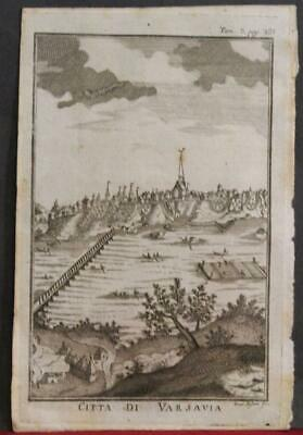 Warsaw Poland 1739 Salmon Unusual Antique Original Copper Engraved City View