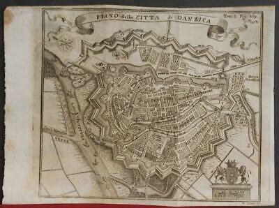 Gdansk Poland 1739 Salmon Unusual Antique Original Copper Engraved City Map