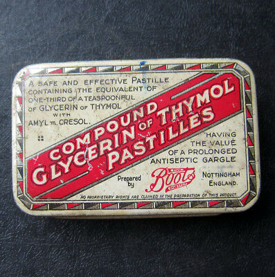 Vintage Tin Compound  Glycerin Of Thymol Pastilles Prepared By Boots