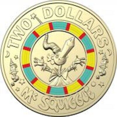 Colored Coin Royal Australian 2019 $2 Mr Sguiggle Coin Two Dollar
