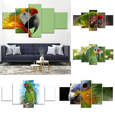 Green Parrot Bird Canvas Print Painting Framed Home Decor Wall Art Poster 5Pcs