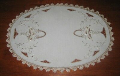 Vintage Embroidered Table Centre Piece~Linen~Lace Edged~Shades Of Beige & Brown