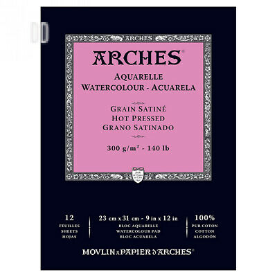 ARCHES 23 x 31 cm 300 gsm Hot Pressed Watercolour Pad