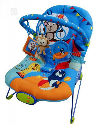 Just4baby BLUE CIRCUS Bouncer Musical Melodies Soothing Vibration Baby...