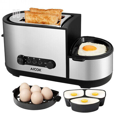 Toaster, Aicok 5-in-1 Toaster with Egg Boiler and Poachers, 2 Slice Mini...