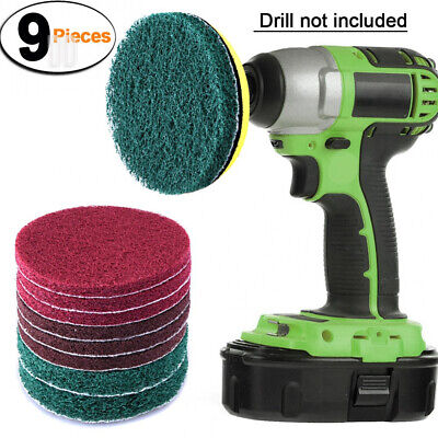 SIQUK 9 Pieces Scrub Pads 4 Inches Drill Power Brush Tile Scrubber Scouring...