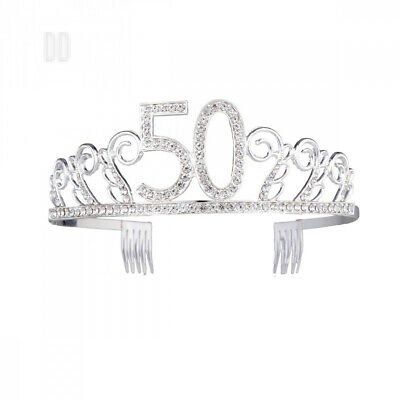 Frcolor 50th Birthday Tiara Crystal Rhinestone Women Crown with Combs