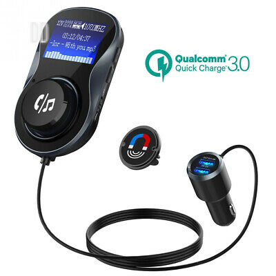 Bluetooth FM Transmitter, CHGeek Quick Charge 3.0+5V/1A Dual USB Car Charger...