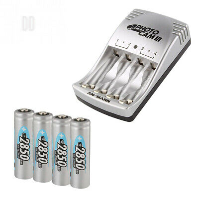 ANSMANN PCIII UK Plug Battery Charger for AA/AAA Rechargeable Batteries & 4...