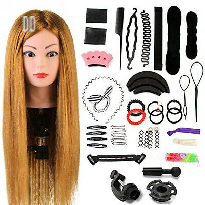 Neverland Beauty 24 Inch Practice Head Hairdressing 60% Real Hair Wig Stand...