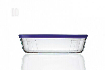 Pyrex 4in1 Glass 1.5L Rectangular Dish with Violet Lid