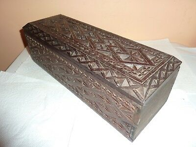Vintage Scandinavian Chip Cut Pattern Wooden 29 Cm Long By 10 Cm Wide Lidded Box