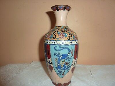 Early 20Thc Japanese Cloisonne 17.7Cm Vase With Two Dragon & 2 Bird Panel Design