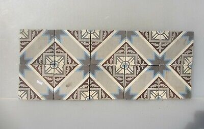Victorian Ceramic Floor Tile Terracotta Antique 1800s Vintage Old Floral x10 Set