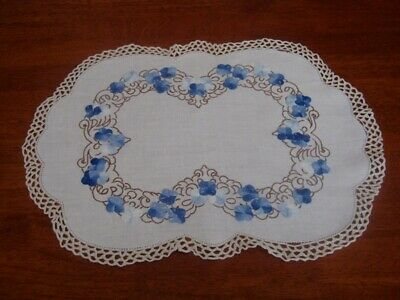 Large Vintage Hand Embroidered Table Centre Piece/doily~Blue Flowers~Cotton