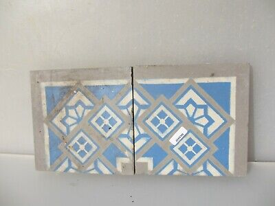 Victorian Ceramic Floor Tile Terracotta Antique 1800's Vintage Old Floral x2