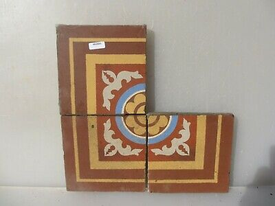 Victorian Ceramic Floor Tile Terracotta Antique 1800's Vintage Old Floral x3