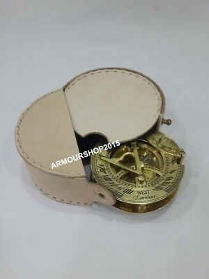 Nautical-Collectibles-Brass-Sundial-Compass-With-Handmade White Leather-Case