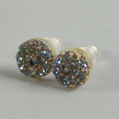 7mm Round Natural Agate Titanium Druzy Stud Earrings Silver Plated H131468