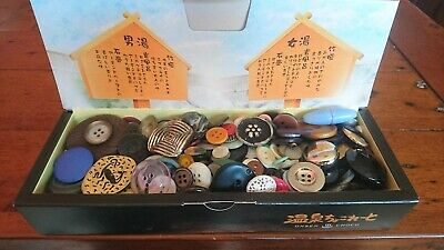 Vintage Buttons in Box some on original Cards retro craft sewing job lot