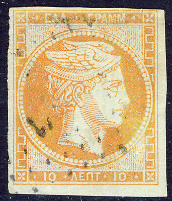 Greece Large Hermes Head May 1862 Athens Consecutive 10L. Yellow Orange Vf Used