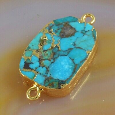 Blue Copper Turquoise Connector Gold Plated H130783