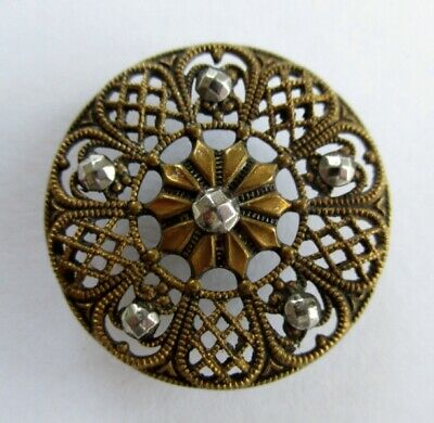 Beautiful Large Antique Vintage Stamped & Pierced Brass Button With Cut Steels