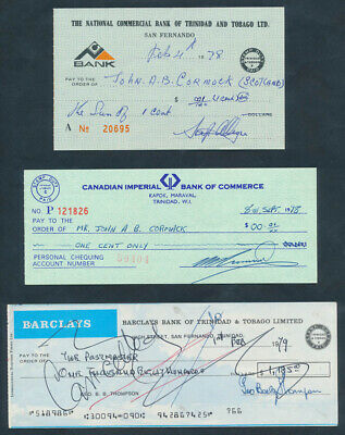 "Trinidad & Tobago: 1970s ""COLLECTION OF 3 DIFFERENT CHEQUES"" + Duty Stamps"
